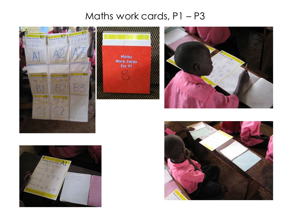 Maths work cards, P1 – P3