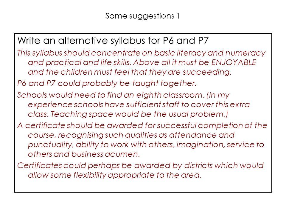 Write an alternative syllabus for P6 and P7