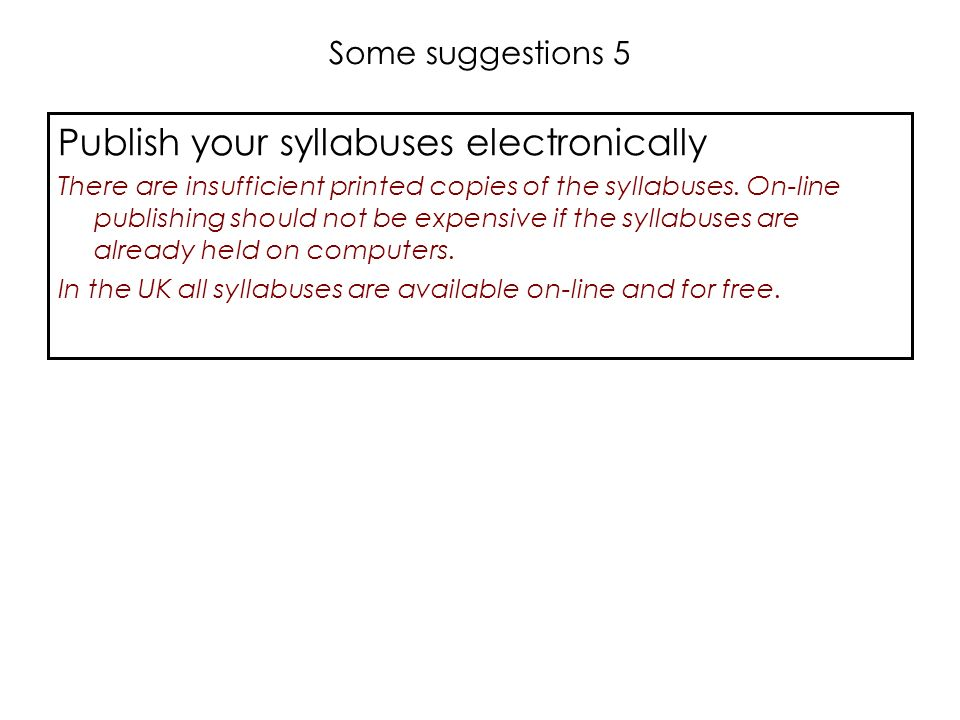 Publish your syllabuses electronically