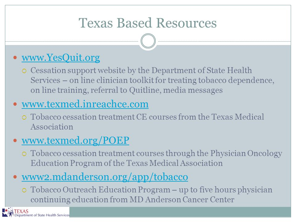 Texas Based Resources www.YesQuit.org www.texmed.inreachce.com
