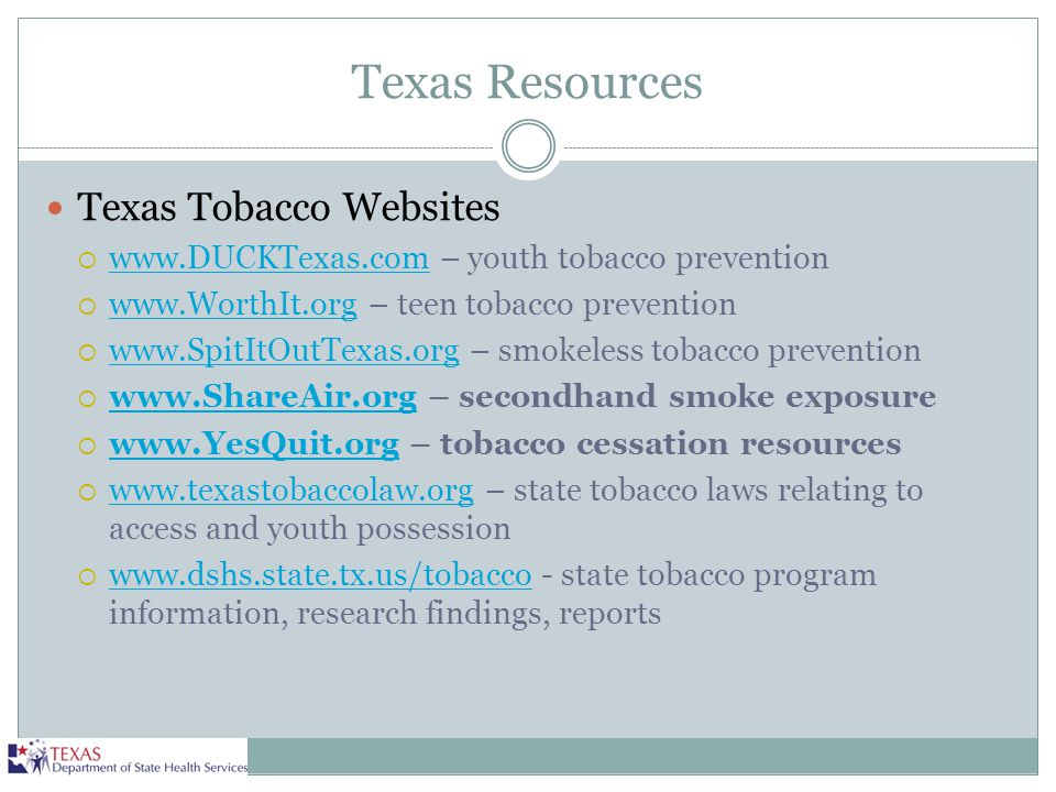 Texas Resources Texas Tobacco Websites