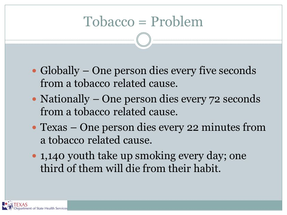 Tobacco = Problem Globally – One person dies every five seconds from a tobacco related cause.