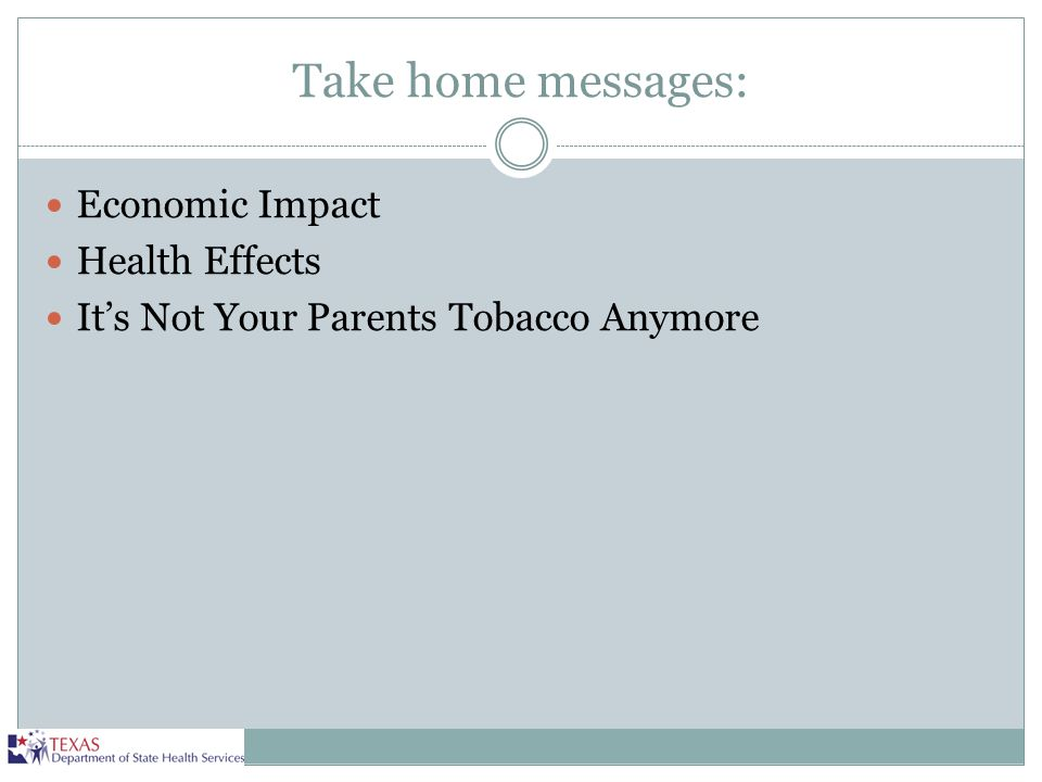 Take home messages: Economic Impact Health Effects