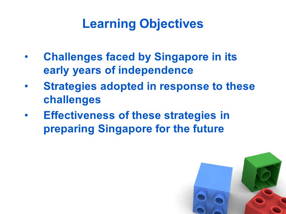 Learning Objectives Challenges faced by Singapore in its early years of independence. Strategies adopted in response to these challenges.