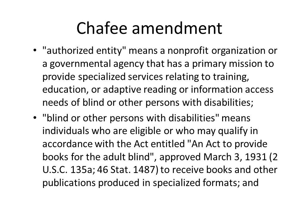 Chafee amendment