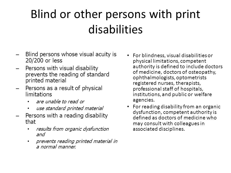 Blind or other persons with print disabilities