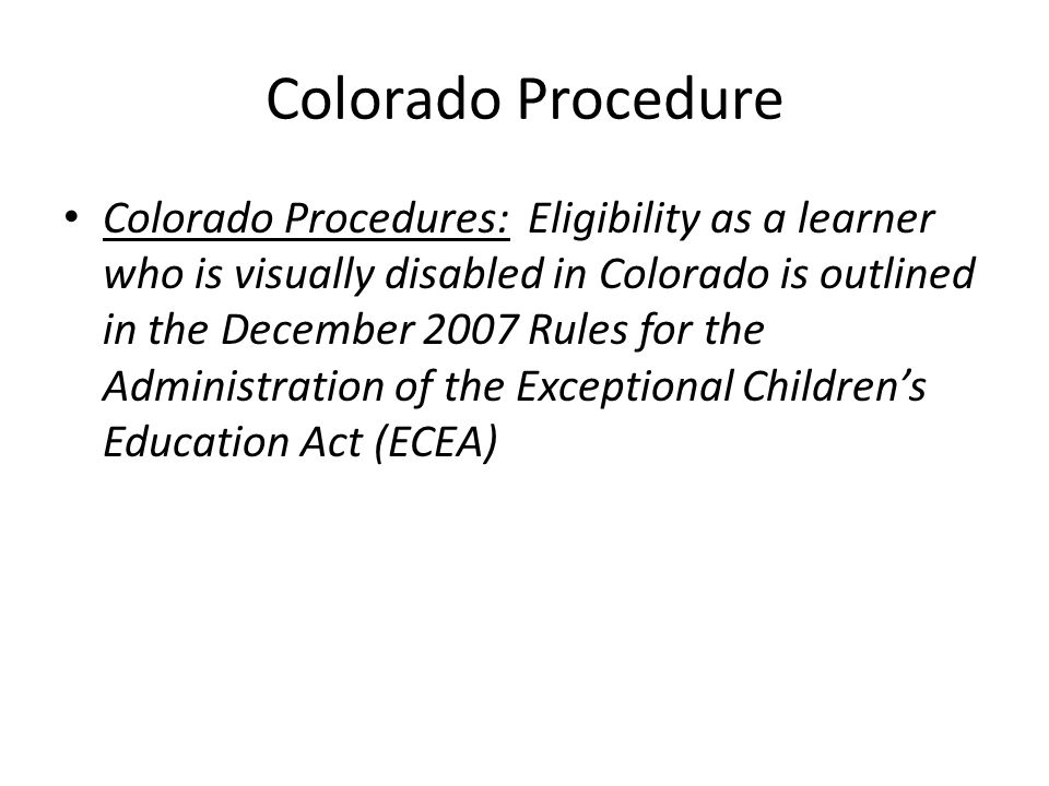 Colorado Procedure