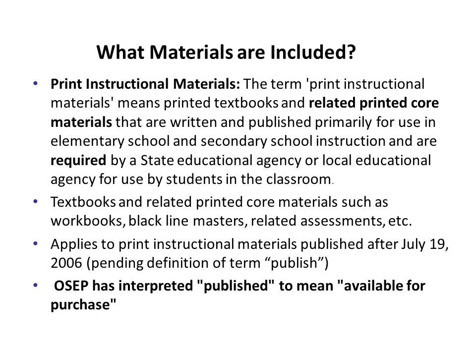 What Materials are Included