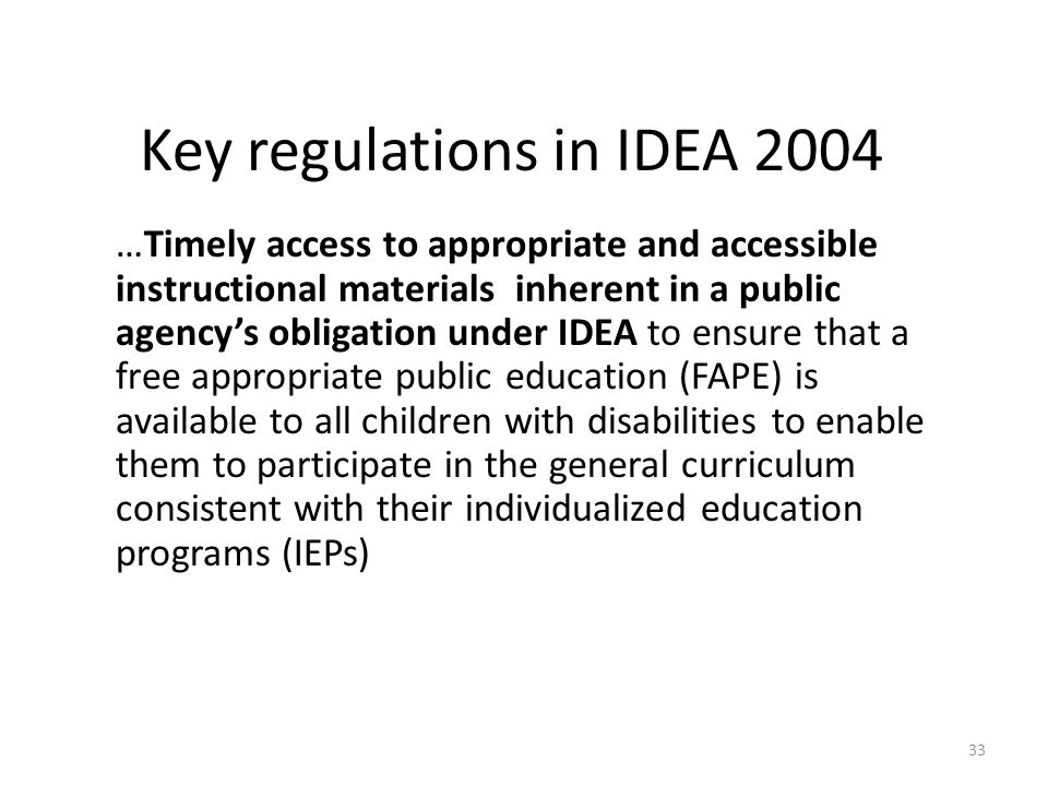 Key regulations in IDEA 2004