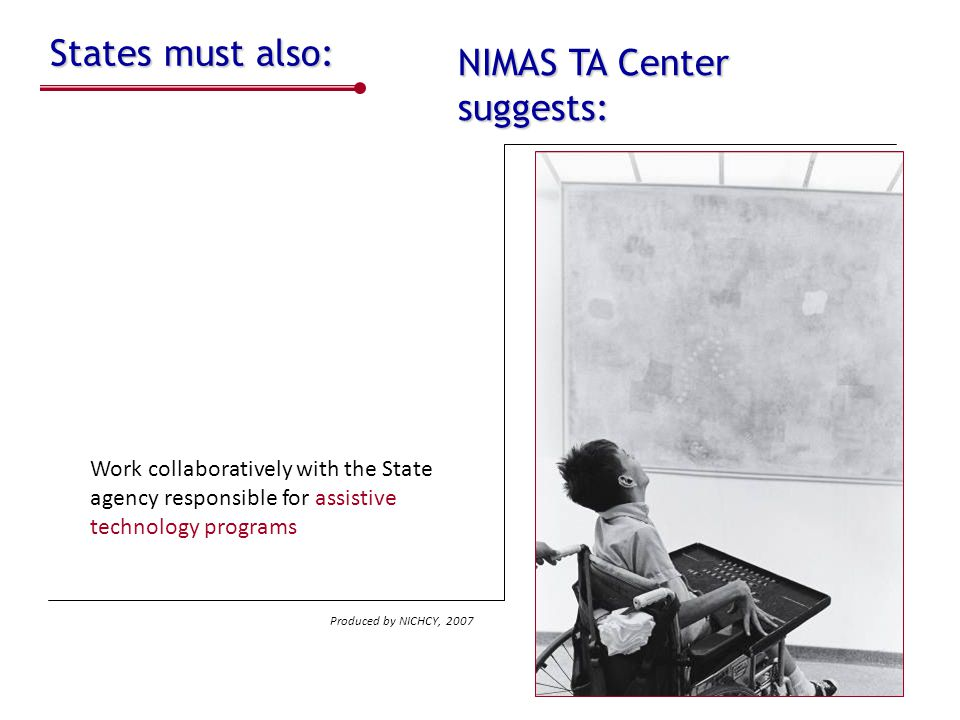 NIMAS TA Center suggests: