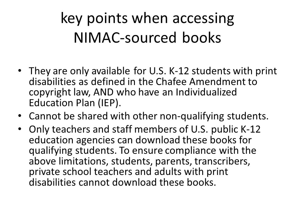 key points when accessing NIMAC-sourced books