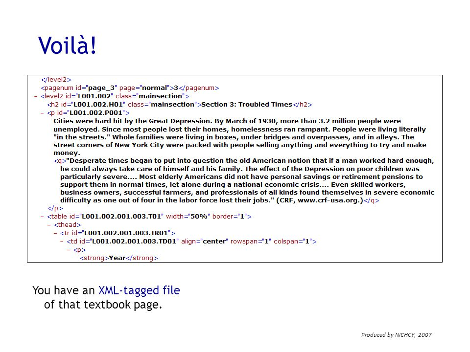 Voilà! You have an XML-tagged file of that textbook page.