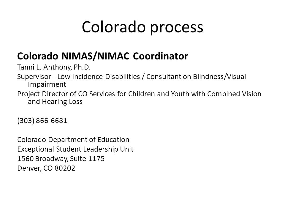 Colorado process Colorado NIMAS/NIMAC Coordinator