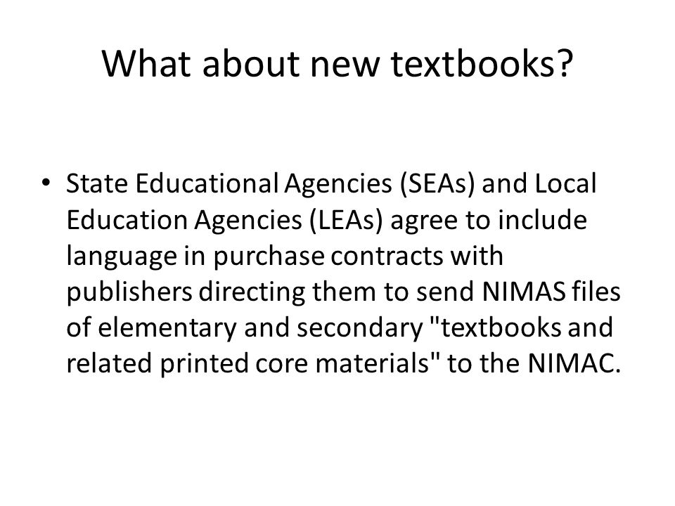 What about new textbooks