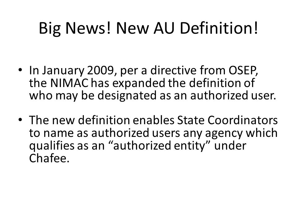 Big News! New AU Definition!