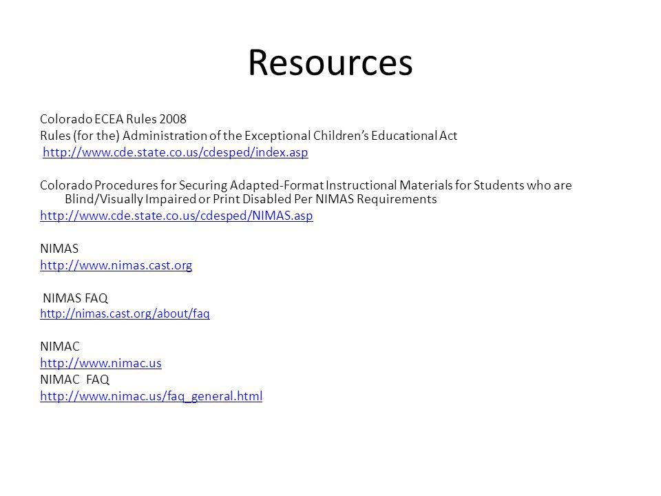 Resources Colorado ECEA Rules 2008