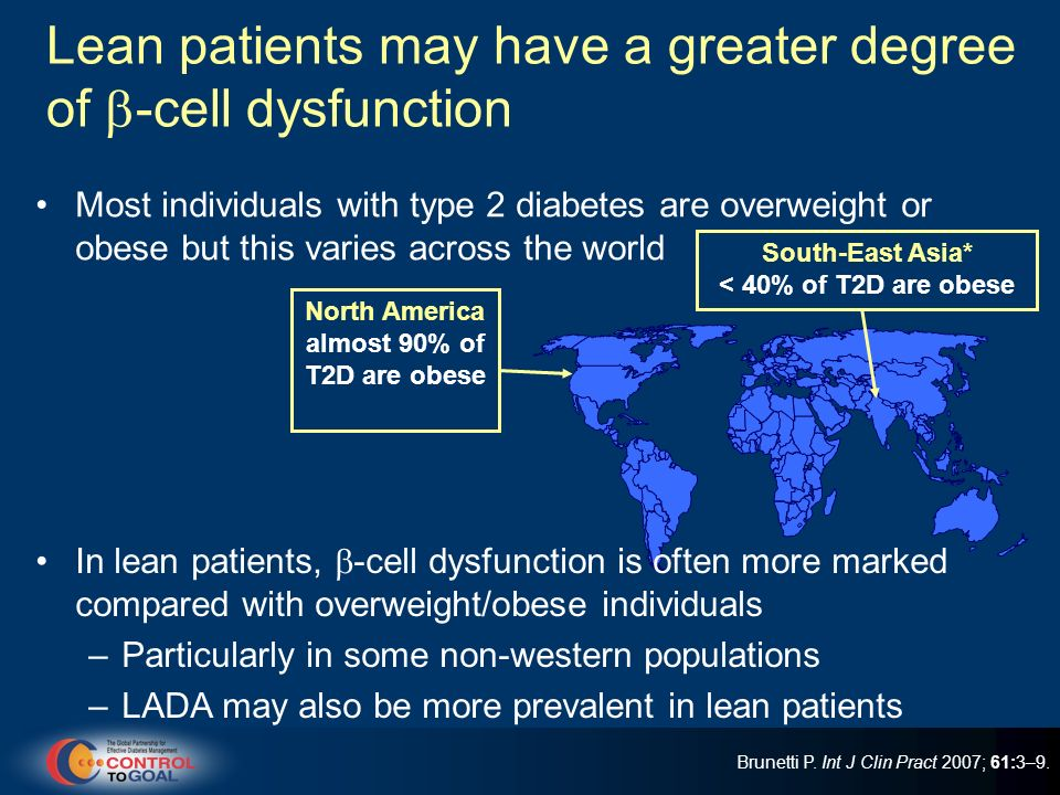 Lean patients may have a greater degree of -cell dysfunction