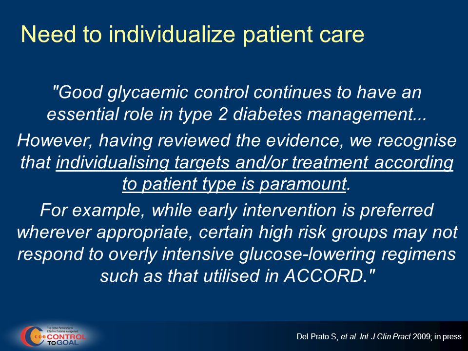 Need to individualize patient care