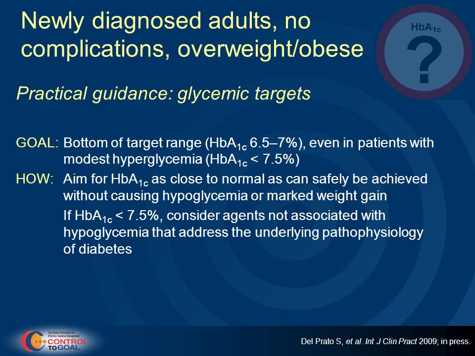 Newly diagnosed adults, no complications, overweight/obese
