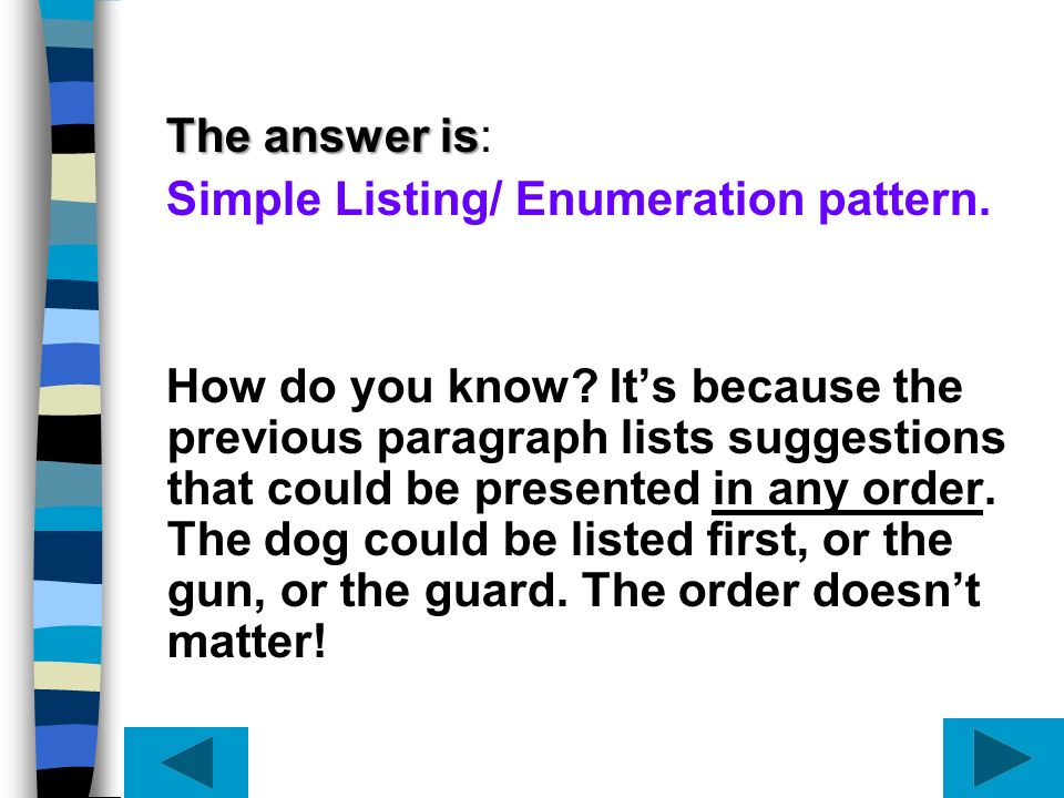 The answer is: Simple Listing/ Enumeration pattern.