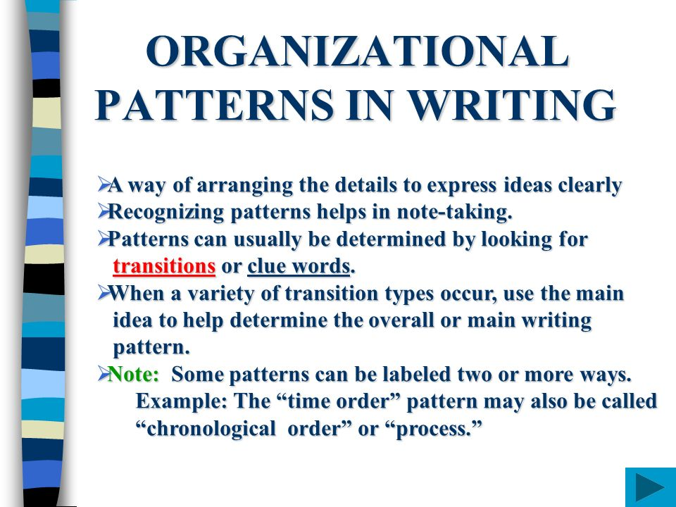 essay organizational patterns Reading response 1 (finished) posted on september 14 what is the difference between a subject-by-subject organizational pattern and a point-by-point organizational i somewhat disagree with your later statement regarding your opinions on the choice of patterns for this essay.