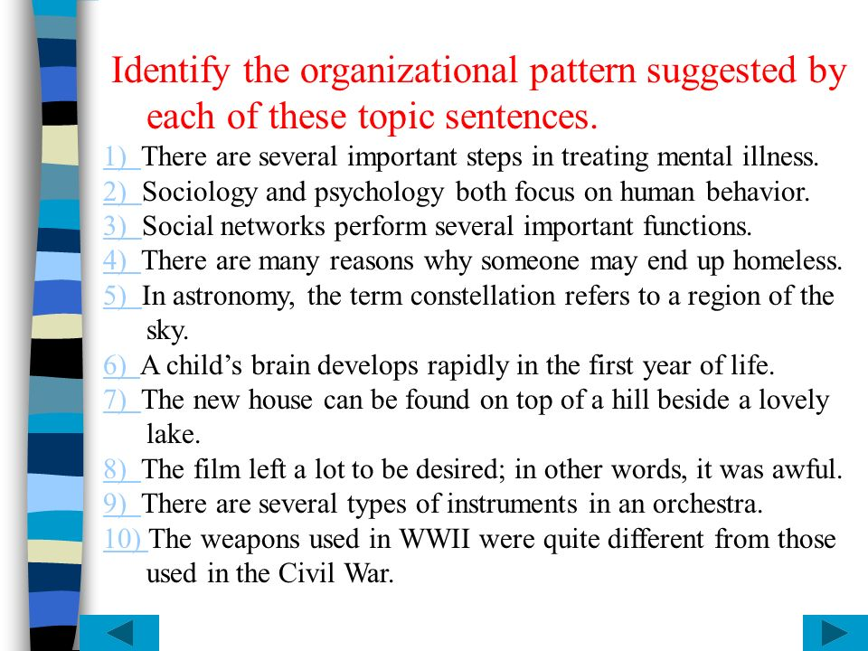 Identify the organizational pattern suggested by each of these topic sentences.