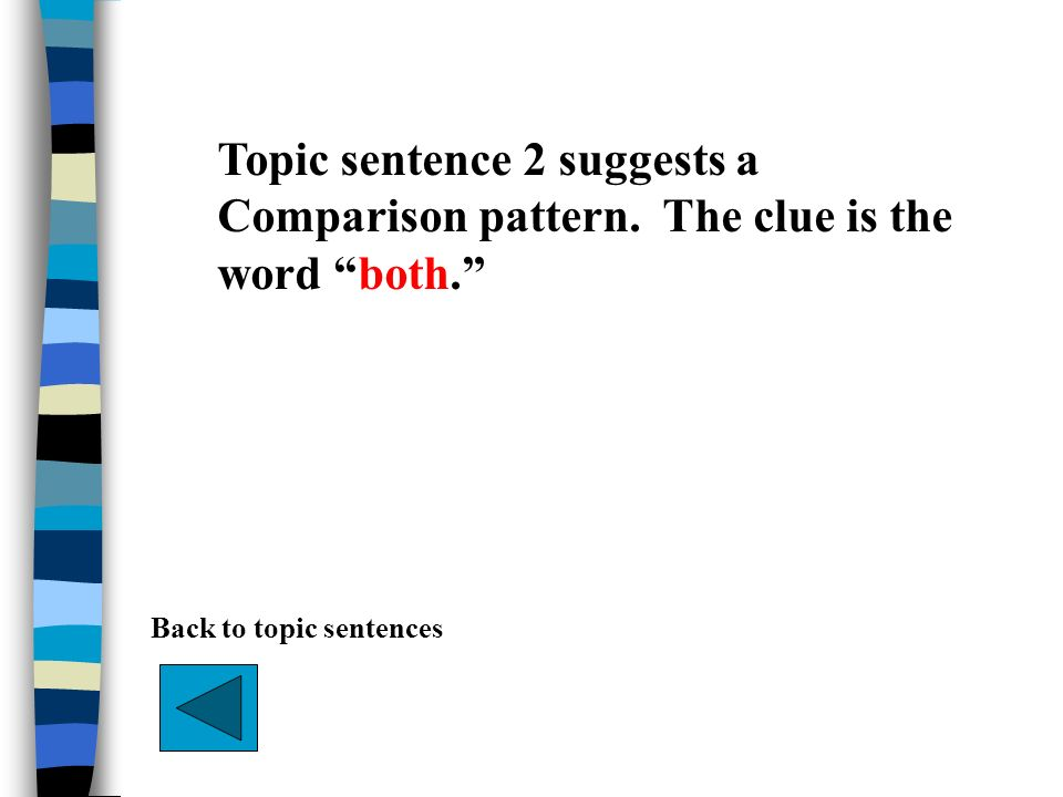 Topic sentence 2 suggests a Comparison pattern