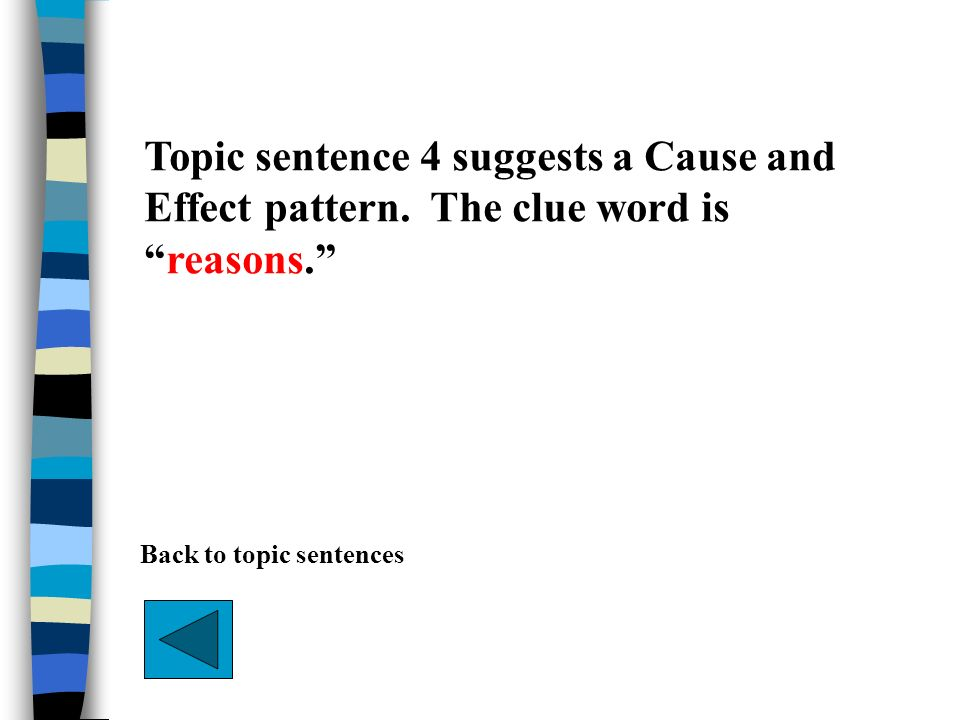 Topic sentence 4 suggests a Cause and Effect pattern