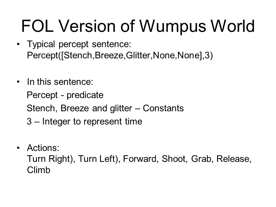 FOL Version of Wumpus World