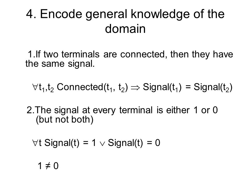 4. Encode general knowledge of the domain