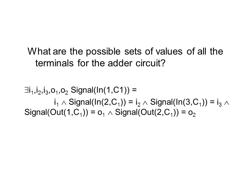 What are the possible sets of values of all the terminals for the adder circuit
