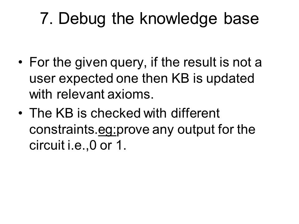 7. Debug the knowledge base