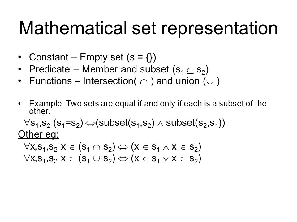 Mathematical set representation