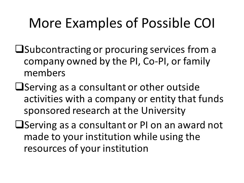 More Examples of Possible COI