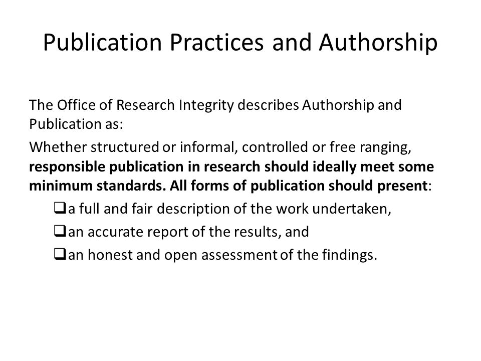 Publication Practices and Authorship