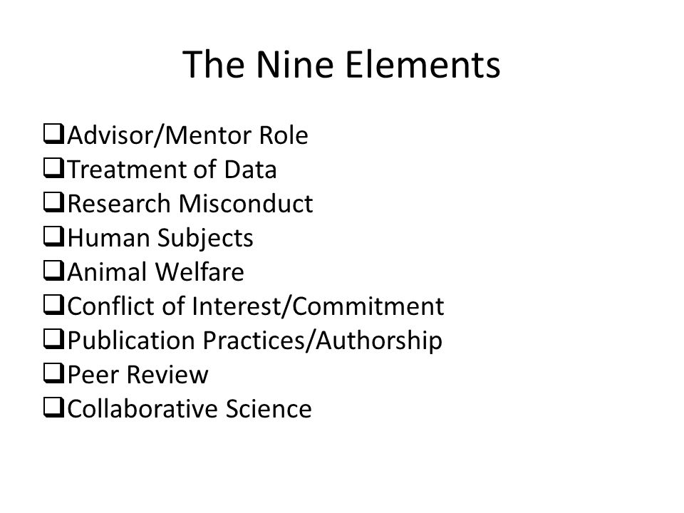 The Nine Elements Advisor/Mentor Role Treatment of Data