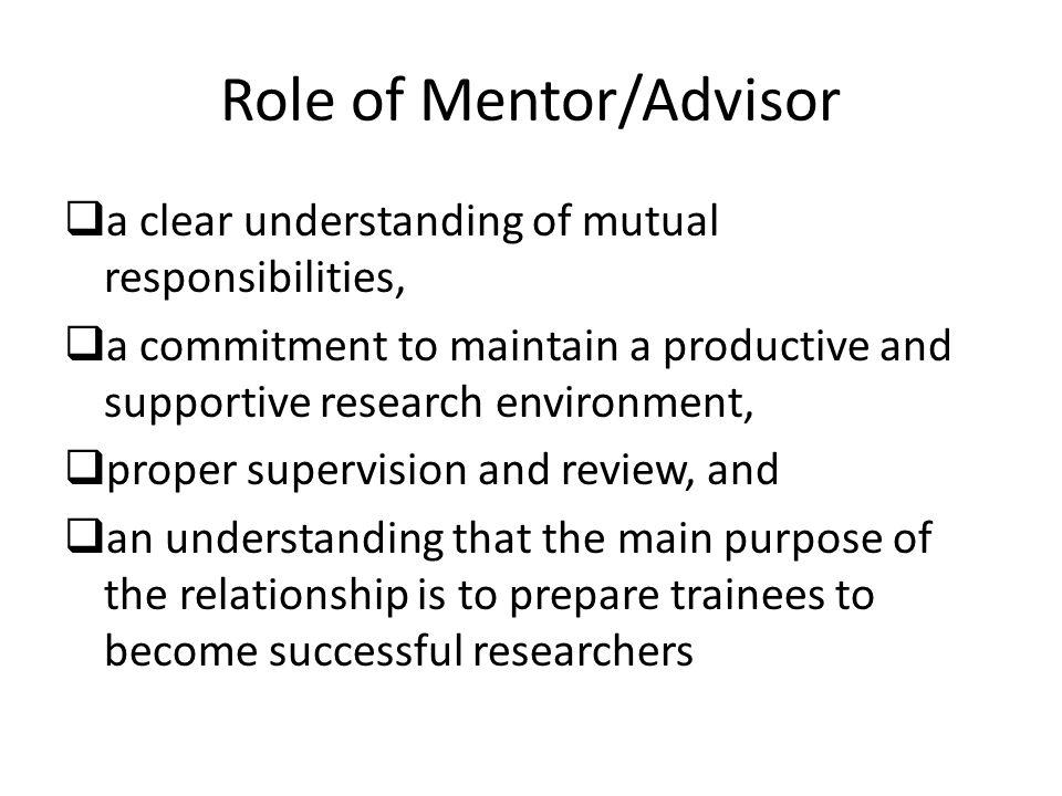 Role of Mentor/Advisor
