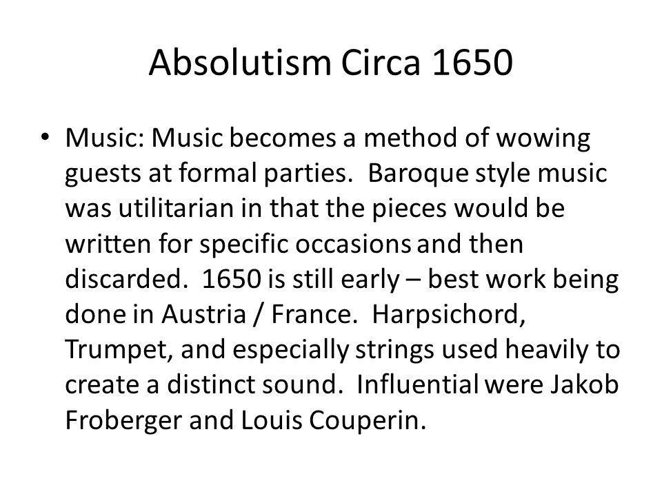 Absolutism Circa 1650