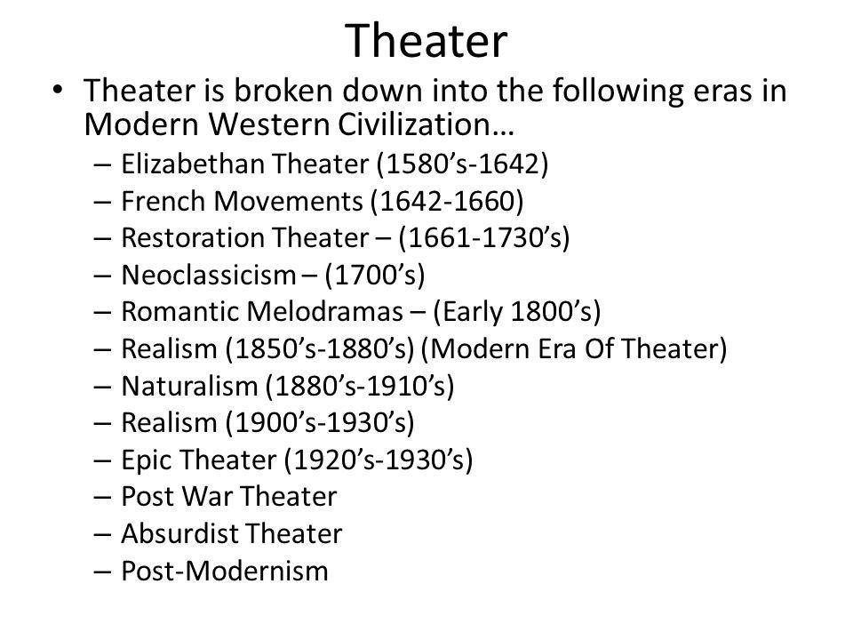 Theater Theater is broken down into the following eras in Modern Western Civilization… Elizabethan Theater (1580's-1642)