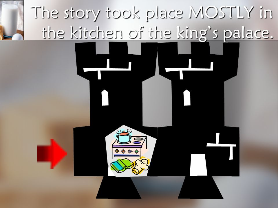The story took place MOSTLY in the kitchen of the king's palace.