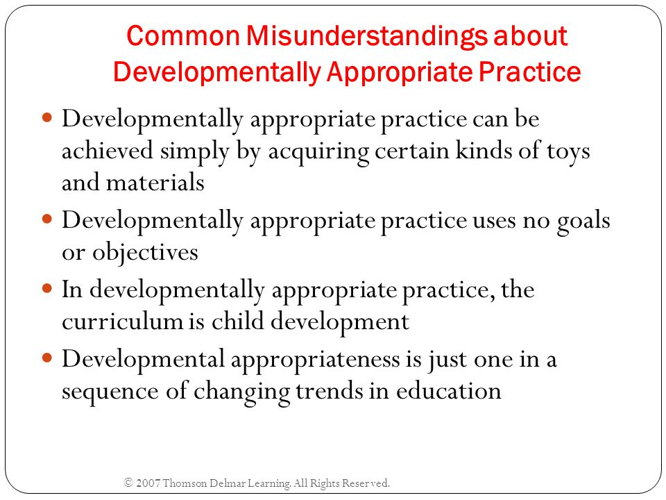 Common Misunderstandings about Developmentally Appropriate Practice