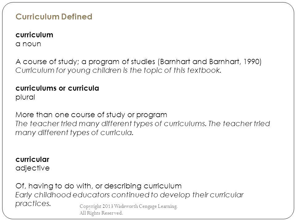 Curriculum Defined curriculum a noun