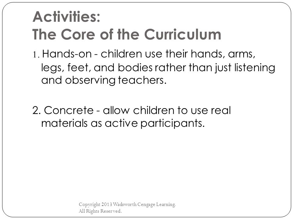 Activities: The Core of the Curriculum