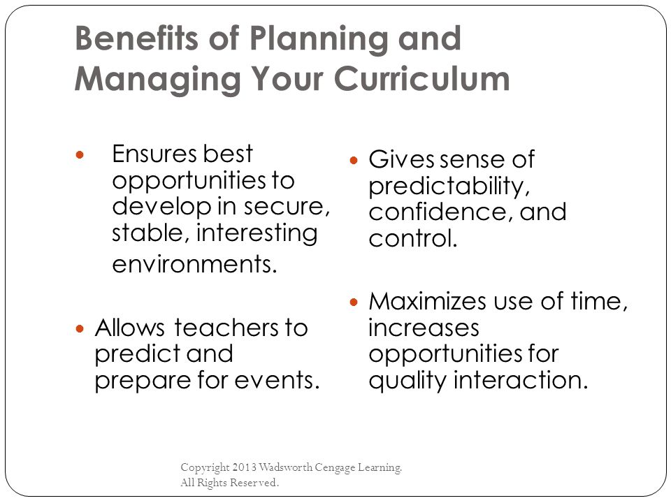 Benefits of Planning and Managing Your Curriculum