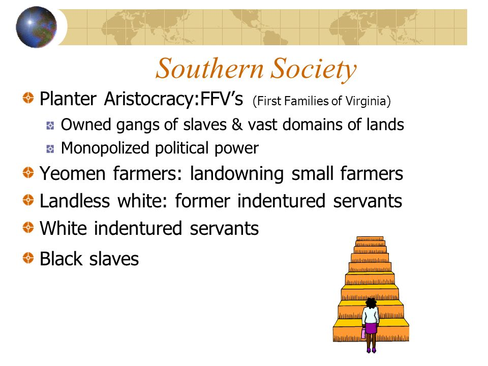 Southern Society Planter Aristocracy:FFV's (First Families of Virginia) Owned gangs of slaves & vast domains of lands.