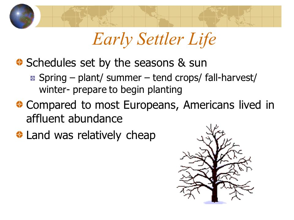 Early Settler Life Schedules set by the seasons & sun
