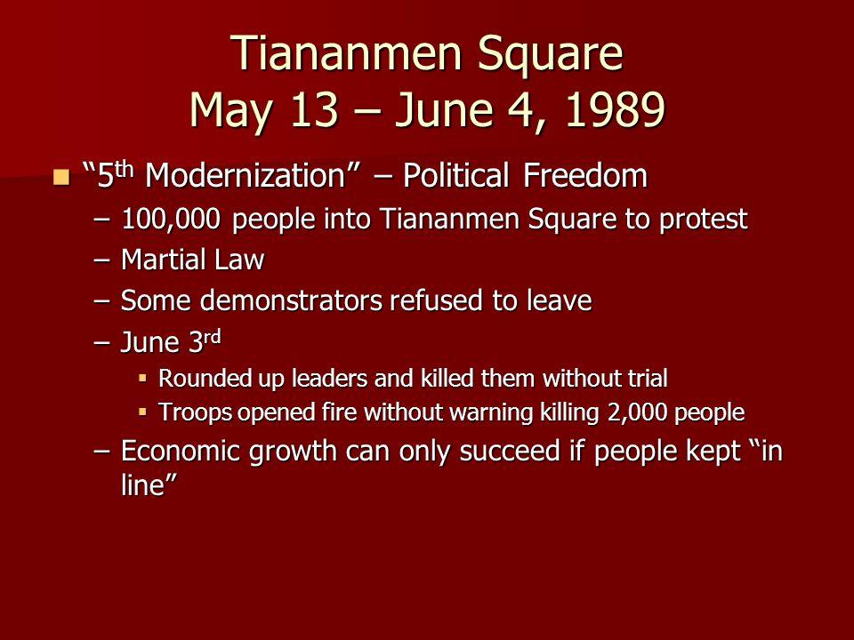 Tiananmen Square May 13 – June 4, 1989