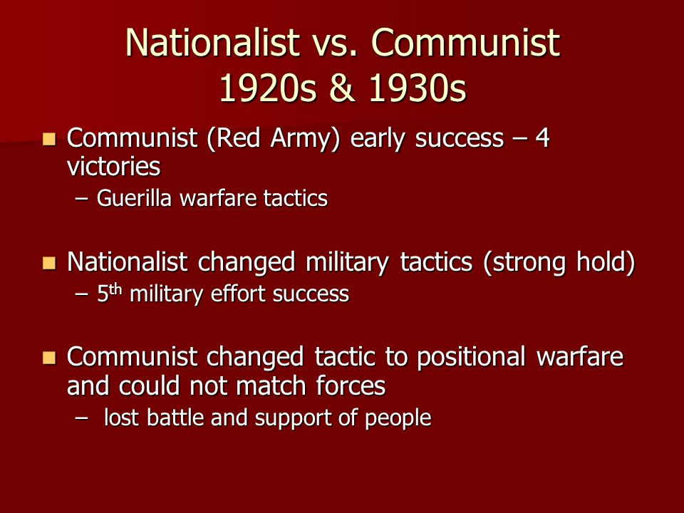 Nationalist vs. Communist 1920s & 1930s