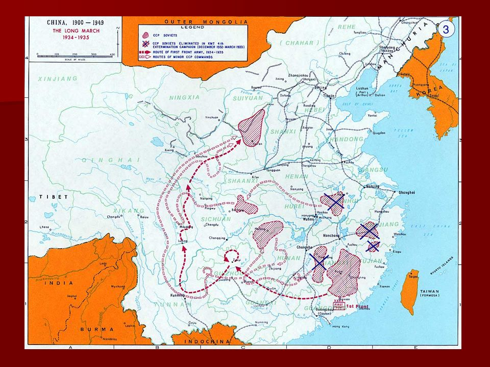 The Long March 1934 - 1935 Communist settled in S. Central China (Jianxi Province)