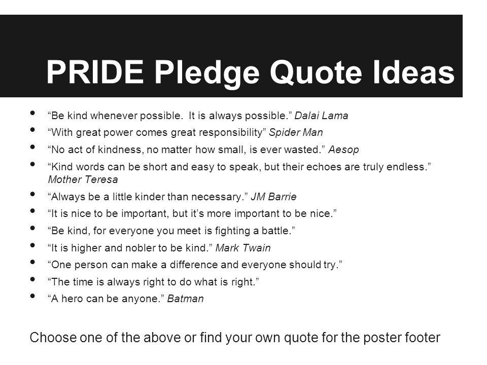 PRIDE Pledge Quote Ideas